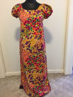 Vintage Granny Gown Hippie Dress 1970 Girls Size Little Miss Dune Deck Polyester #LittleMissDuneDeck #EmpireWaist #Everyday