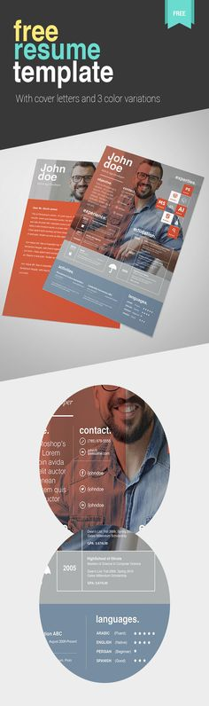 15 Free Professional Cv/Resume And Cover Letter Psd Templates