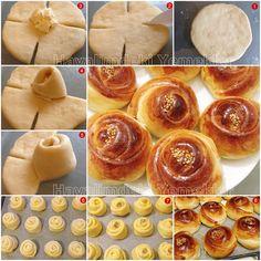 gül poğaça tarifi - I can't read the recipe's language, but I love the idea of artfully wrapping dough around a yummy filling. Donut Recipes, Bread Recipes, Cooking Recipes, Blender Recipes, Nutribullet Recipes, Homemade Pastries, Homemade Cakes, Art Du Pain, Pain Pizza
