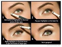 Use highlighter to make your eyes look fresh and glowing.