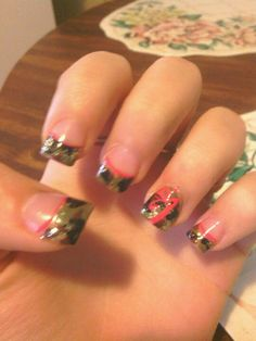 Camo nails with browning symbol