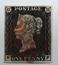 Great-Britain-1840-1d-Penny-Black-Red-Maltese-Cross-Cancelation-Plate-Letter-SF