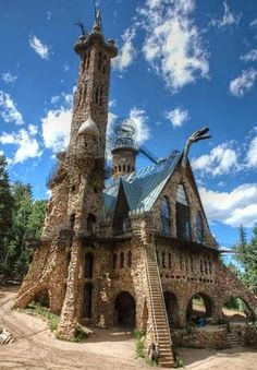 """Bishop Castle near Pueblo Colorado. RESEARCH #DdO:) - INTRIGUING ARCHITECTURE - https://www.pinterest.com/DianaDeeOsborne/intriguing-architecture/ - For 46 years, one man dedicated life to building it: Jim Bishop says """"Did it all myself, don't want any help."""" Tallest tower rises 160 feet from forest floor, above tops of pine trees in San Isabel National Forest. Family is fighting 2015's new owner who changed name to Castle Church for the Redemption of the Office. koaa.com/story/28895416"""