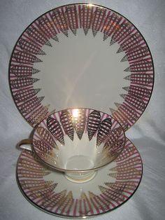 This is a beauty!Vintage Bavaria Tea Cup Saucer Dish Purple Gold Dessert Trio Set Fine Bone China