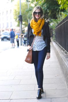 polka dot blouse   yellow scarf   cognac   denim   outfit Mustard Scarf 5af422490