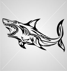 Shark tribal vector 2252325 - by VectoryOne on VectorStock®