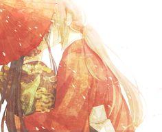 Kaoru and Kenshin. A kiss shared under the umbrella. 慎ちゃん | 魚子 [pixiv] http://www.pixiv.net/member_illust.php?mode=medium&illust_id=49109488