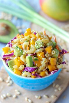 A refreshing pasta salad loaded with sweet mango and fresh avocado!  . Click the link to view the recipe :)
