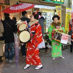 Saw a Chindon'ya (Japanese marching band) in Ueno. It's a type of elaborately costumed street musicians that advertise for shops and other establishments. #japan #tokyo #travel #ueno #band #bbctravel