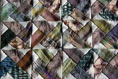090901_009 Shibori - Mini quilt en soies de kimonos japonais