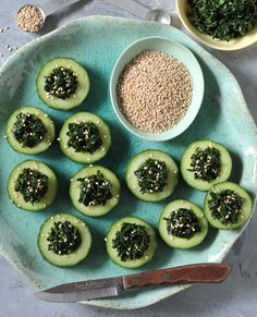 Kale Cucumber Cups From Vegan Finger Foods by Celine Steen and Tamasin Noyes | HealthySlowCooking.com
