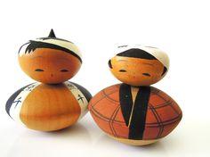 Japanese Kokeshi Dolls, antique, pair.