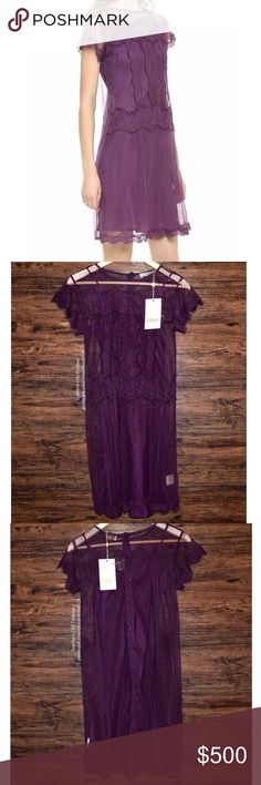 CANDELA NYC Lace Dress Classic Bohemian Mini Gown Size XS. New With Tags. $315 MSRP + Tax.   • Beautiful purple dress featuring intricate mesh eyelet embroidery throughout.  • Romantic scalloped eyelash trim along front hem & sleeves. • Partial button-down back includes 5-buttons. • Removable matching slip dress included. • Measurements provided in comments below.  {Southern Girl Fashion - Closet Policy}  ✔️ Same-Business-Day Shipping (10am CT) ✔️ Reasonable best offer considered when…