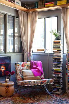 Smart way to stack up the books in the reading nook How to Create a Captivating and Cozy Reading Nook