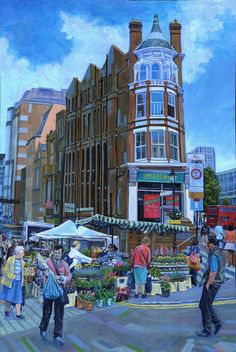 Surrey Street Market in Croydon again, this painting shows 'The Flower Stall' in mid summer. The end building is quite an odd shape and makes a great substitute for a fairy-tail tower if you are inclined to imagination!