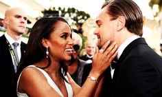 """Kerry Washington and Leo Dicaprio having a friendly moment. Leo never misses a chance to """"say hi"""" to a beautiful woman. LOL! #interracial #KerryWashington"""