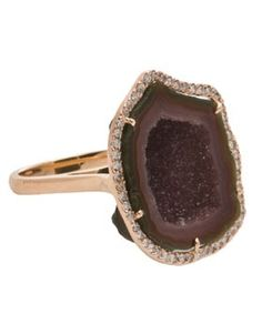 Geode ring with diamonds.