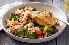 Orange & Mirin-Glazed Cod with Warm Barley & Broccoli Salad. Visit https://www.blueapron.com/ to receive the ingredients.