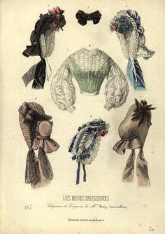 Hats and blouse, 1863 fashion plate Victorian Hats, Victorian Fashion, Victorian Women, Victorian Dresses, Victorian Gothic, Gothic Lolita, Historical Hairstyles, Civil War Fashion, War Bonnet