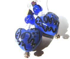 Deep Blue Hearts Beaded Earrings Pierced Lampwork  by SiriusFun, $9.00