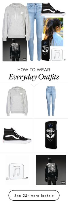 """My go to everyday outfit "" by sofiahernandez12 on Polyvore featuring H&M, adidas, Vans, Samsung, Happy Plugs, women's clothing, women's fashion, women, female and woman"