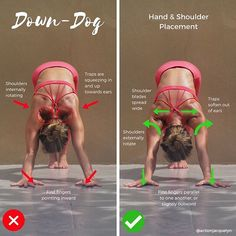 Downward Dog Hand and Shoulder Placement Tutorial! Do ✅: • Hands shoulders distance • Spread fingers wide • First fingers are parallels to one another, or angled slightly out if you have tight shoulders or are dealing with a wrist injury • Root down through first finger and thumb • Hug forearms in • Spread shoulder blades wide ______ Don't do ❌: • Hands angled inward • Shoulders and upper arm bones internally rotating, causing the squeezing and overuse of the upper trapezIus, and…
