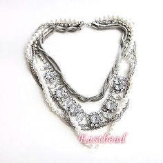 EN290 FREE SHIP 1pcs Fashion Personality Pearl Gem Necklace   eBay...this is what i have been looking for
