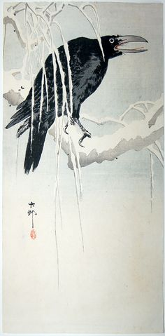 "O""Crow on Willow Branch In Snow"", Ohara Koson Crow Art, Japanese Artists, Korean Art, Japanese Woodblock Printing, Ohara Koson, Japanese Painting, Art, Eastern Art, Bird Art"