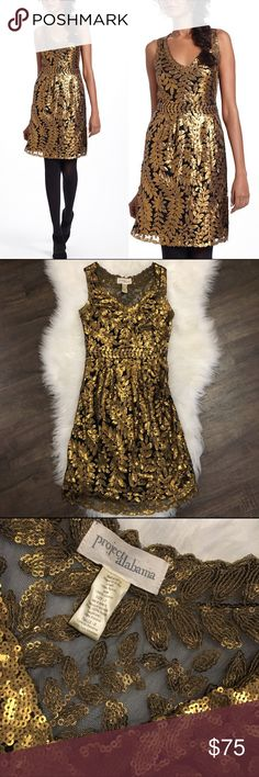 "⚜️Anthropologie Project Alabama Leaf Sequin Dress Occasion dresses are AWESOME! This dress is no different with its beautiful gold leaves. NWOT! Never worn!  * Side zip * Nylon; viscose lining * Dry clean * Regular: 39""L  💁🏾✨Happy Poshing!  🌟 Suggested User 🌟 🙋🏾 Top 10% Sharer/Mentor ⭐️⭐️⭐️⭐️⭐️ 5 star Gal 📫 Fast Shipper!  Ships Same/Next Day📦  🏡 Odor Free 🐩 Pet Free 🚫 No PayPal/No Trades/NO Lowball offers 😀 Anthropologie Dresses"
