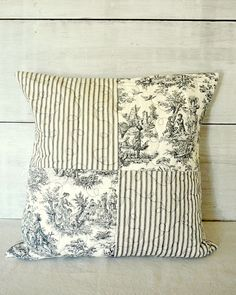 Black Toile & Ticking Quilted Patchwork Pillow Cover - French Cottage Farmhouse - 18x18