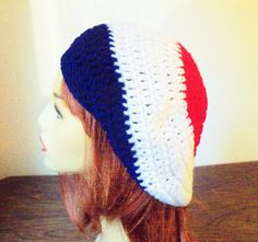 Color Block Beret Tam Hat  Red White and Blue by BeyondCrochet