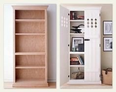 bookshelf makeover!  I love this…I wonder if I can talk Greg into adding these doors to my Ikea bookshelves I have in my craft room!