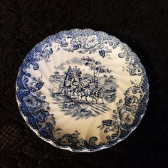 Johnson Brothers of England, Saucer, Ironstone, Coaching Scenes Pattern, Cobalt Blue & White Transferware, Hunting Country, 1 Available Vintage Plates, Retro Vintage, Antique Hutch, Johnson Brothers, Kitchen Ware, Pattern Names, China Dinnerware, Purple Amethyst, Cobalt Blue