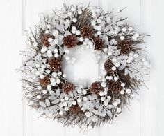 "White Berry & Pinecones Glitter Wreath, (20"") at Big Lots."