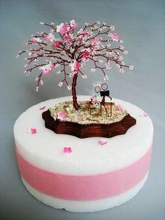 Sakura Bead Tree Wedding   Cake Topper - Custom Made.  I love to work with customers to design their own wedding centerpiece :)..