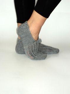 Winter grey wool slippers by aykelila on Etsy, $28.00