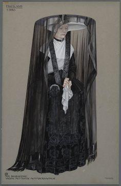 Friesland ca. 1770. Ter begrafenis. Vrouw met 'Duitse muts' en rouwfalie