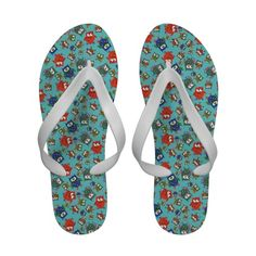 Cute Owls Women's Flipflop Sandals, Turquoise Blue - http://www.zazzle.co.uk/cute_owls_womens_flipflop_sandals_turquoise_blue-256606825920062685?rf=238041988035411422