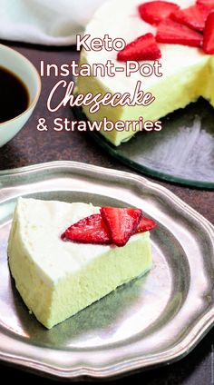 Keto Instant Pot Cheesecake with Strawberries is a sweet and incredibly creamy, crust-free cheesecake with vanilla flavor and topped with yummy sliced strawberries.