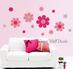Nursery wall decals vinyl flowers wall sticker art Nursery wall decal kids florals Playing room pink cherry blossoms- colorful flowers $38