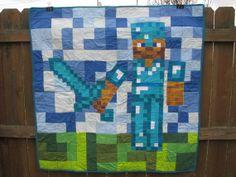 Mindcraftinspired Quilt  Diamond Armor and by HandmadeBySarahMwale, $100.00
