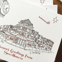 On the packing table this week: a holiday edition of the custom illustration I drew for @harveyoak in Swarthmore. Adding boughs and wreaths to each little building was really fun!