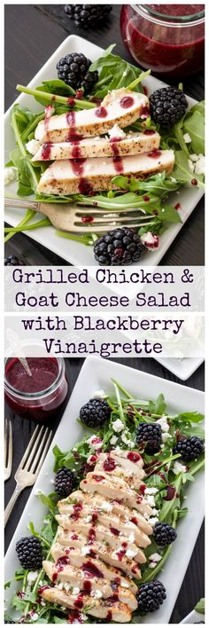 Grilled Chicken and Goat Cheese Salad with Blackberry Vinaigrette Blackberries, goat cheese, and grilled chicken are the perfect toppings on this summer salad! Goat Cheese Stuffed Chicken, Grilled Chicken, Grilled Calamari, Grilled Cauliflower, Grilled Halloumi, Cauliflower Recipes, Clean Eating, Healthy Eating, Goat Cheese Salad
