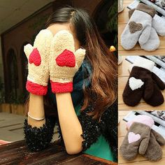 Autumn and winter thermal thickening plush gloves love female thermal full finger gloves $4.61
