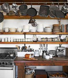 Open shelves, raw wood, pot rack