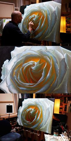Something quite interesting...Oil painting of a white rose, called 'The Unfolding', by Vincent Keeling.
