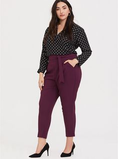 High Waisted Tie-Front Skinny Pant – Burgundy Purple - Plus Size Plus Size Business Attire, Business Professional Outfits, Business Casual Outfits For Women, Business Outfits, Plus Size Professional, Business Chic, Business Formal, Young Professional, Professional Wardrobe
