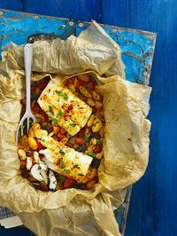 Bag-baked cod with tomatoes, chorizo and butterbeans