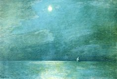 Moonlight in the Sound - Frederick Childe Hassam 1906 Impressionism Mary Cassatt, Nocturne, Renoir, Monet, American Impressionism, East Hampton, Oil Painting Reproductions, American Artists, Great Artists