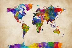 Michael Tompsett - Watercolor Map of the World Map